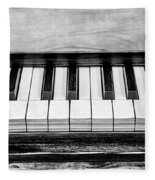 Black And White Piano Fleece Blanket