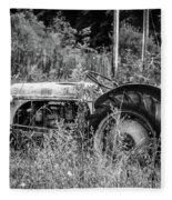 Black And White Tractor Fleece Blanket