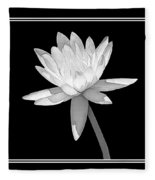 Black And White Water Lily Fleece Blanket