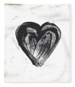 Black Heart- Art By Linda Woods Fleece Blanket