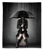Black Rain Fleece Blanket