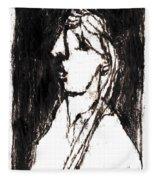 Black Side Portrait Fleece Blanket