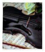 Black Violin On Sheet Music Fleece Blanket