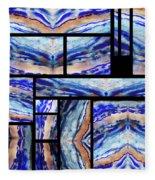 Blue Agate Mosaic Watercolor Collage Fleece Blanket