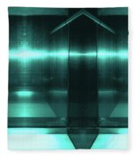 Blue Aluminum Surface. Metallic Fashion Geometric  Background Fleece Blanket