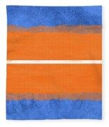 Blue And Orange Abstract Theme Iv Fleece Blanket