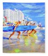Blue Board Fast Into Ocean Fleece Blanket