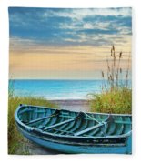 Blue Boat At Dawn Fleece Blanket