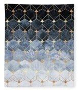 Blue Hexagons And Diamonds Fleece Blanket