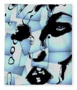 Blue Pop Art Woman's Face 1960's Retro Fleece Blanket