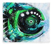 Blue Spewed Turtle Fish Fleece Blanket