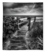 Boardwalk To The Sea In Radiant Black And White Fleece Blanket