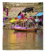 Boat And Bank Of The Narmada River, India Fleece Blanket