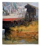 Boat In Drydock Fleece Blanket