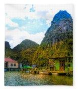 Boat People Homes On Gulf Of Tonkin Ha Long Bay Vietnam Fleece Blanket