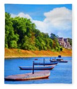 Boats At The Ferry Crossing Painting Fleece Blanket