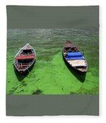 Boats On Algae, In Santarem, Brazil. Fleece Blanket