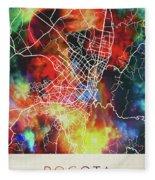 Bogota Colombia Watercolor City Street Map Fleece Blanket