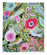 Bohemian Bird Garden Fleece Blanket
