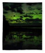 Boot Lake Green And Purple Northern Lights  Fleece Blanket
