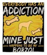 Borzoi Funny Dog Addiction Fleece Blanket