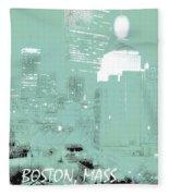 Boston Massachusetts Night Scene Digital Art Fleece Blanket