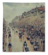 Boulevard Montmartre - Afternoon, In The Rain, 1897 Fleece Blanket