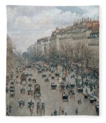 Boulevard Montmartre - Afternoon, Sunlight, 1897 Fleece Blanket