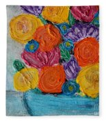 Bouquet In Blue Fleece Blanket