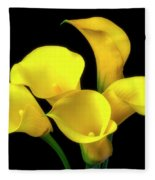 Bouquet Of Yellow Calla Lilies Fleece Blanket