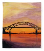 Bourne Bridge Sunset Fleece Blanket