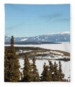 Bove Island On Windy Arm In Tagish Lake Yukon Fleece Blanket