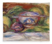 Bowl, Figs, And Apples, 1916 Fleece Blanket
