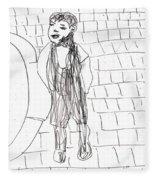 Boy On The Street Pencil Drawing Fleece Blanket