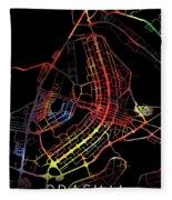 Brasilia Brazil City Street Map Watercolor Dark Mode Fleece Blanket