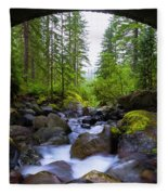Bridge Below Rainier Fleece Blanket