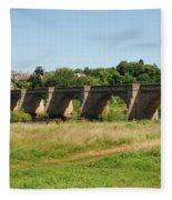 bridge over river Tyne at Corbridge in summer Fleece Blanket