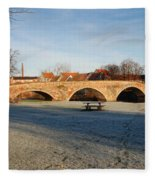 bridge over river Tyne in Haddington in winter Fleece Blanket