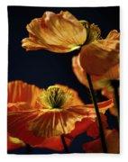 Bright Orange Poppies Fleece Blanket