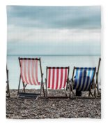 Brighton Beach Chairs Fleece Blanket