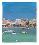 Brilliant Bermuda  Cityscape Fleece Blanket