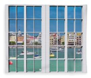 Brilliant Bermuda Cityscape Windows Fleece Blanket