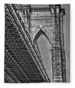 Brooklyn Bridge Over And Under Bw Fleece Blanket by Susan Candelario