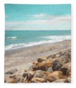 Bruce Bay New Zealand Painterly Fleece Blanket