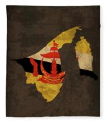 Brunei Country Flag Map Fleece Blanket