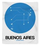 Buenos Aires Blue Subway Map Fleece Blanket
