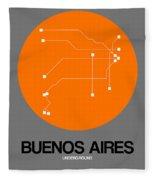 Buenos Aires Orange Subway Map Fleece Blanket