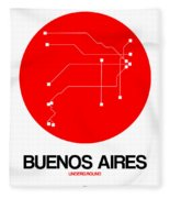 Buenos Aires Red Subway Map Fleece Blanket