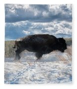 Buffalo Charge.  Bison Running, Ground Shaking When They Trampled Through Arsenal Wildlife Refuge Fleece Blanket