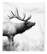 Bull Elk In Rut Fleece Blanket